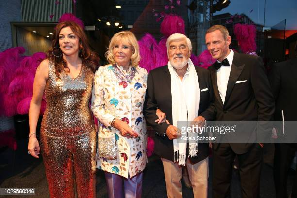 Alice Brauner Mario Adorf and his wife Monique Adorf and Michael Zechbauer during the 100th bitrhday celebration gala for Artur Brauner at Zoo Palast...