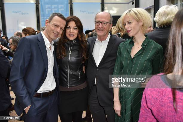 Alice Brauner with her husband Michael Zechbauer Katja Eichinger and guest at the FFF reception during the 68th Berlinale International Film Festival...