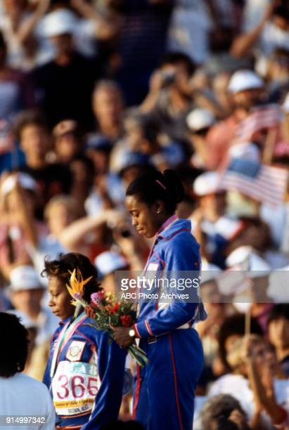 Alice Brown Evelyn Ashford Women's Track 100 metres medal ceremomy Memorial Coliseum at the 1984 Summer Olympics August 5 1984