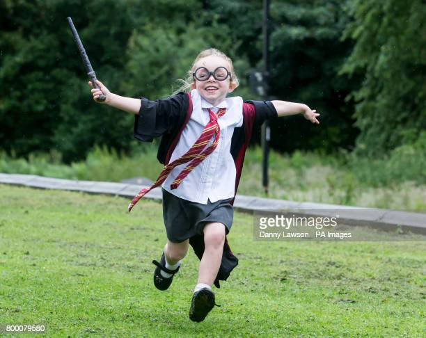 Alice Burns dressed as Harry Potter at Smithills Hall in Bolton before an attempt to break the Guinness World Record for the Largest Gathering of...