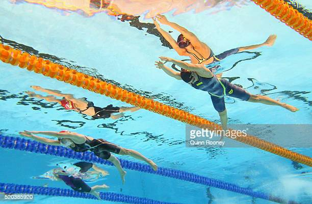 Alice Butler Cassandra Van Breugel and Justine Spurr of Australia competes in the Women's 200 Metre Breaststroke during day four of the Australian...