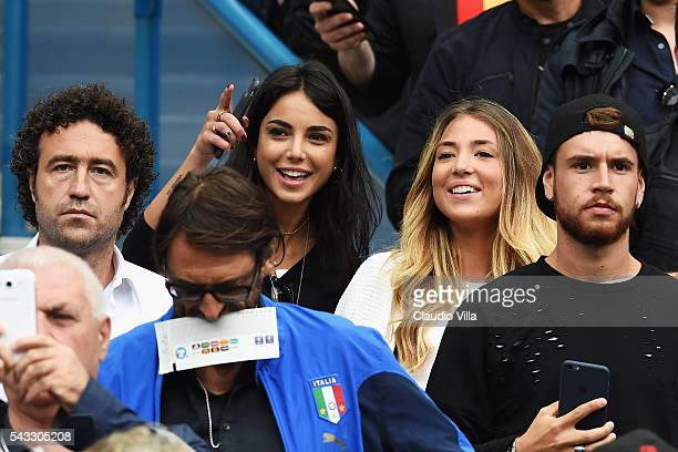 Alice Campello girlfriend of Alvaro Morata of Spain and Chiara Biasi girlfriend of Simone Zaza of Italy are seen prior to the UEFA EURO 2016 round of...