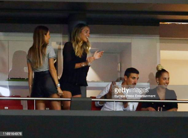 Alice Campello is seen on Wanda Metropolitano Stadium during the Atlético de Madrid match on August 18 2019 in Madrid Spain