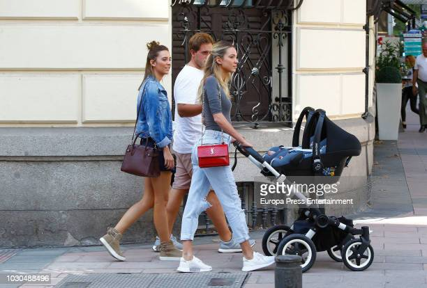 Alice Campello is seen with her two twins Alessandro Morata and Leonardo Morata on September 10 2018 in Madrid Spain