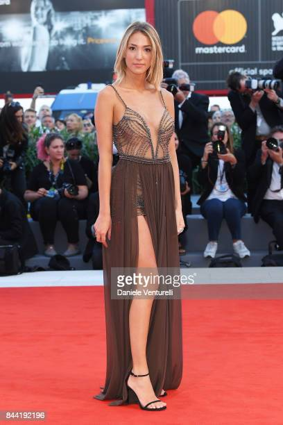 Alice Campello walks the red carpet ahead of the 'Racer And The Jailbird ' screening during the 74th Venice Film Festival at Sala Grande on September...