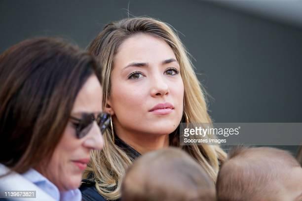Alice Campello wife of Alvaro Morata of Atletico Madrid during the La Liga Santander match between Atletico Madrid v Real Valladolid at the Estadio...
