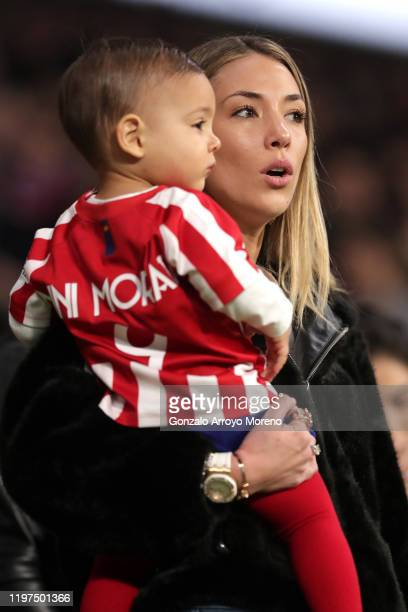Alice Campello wife of Alvaro Morata of Atletico Madrid looks on prior to the La Liga match between Club Atletico de Madrid and Levante UD at Wanda...