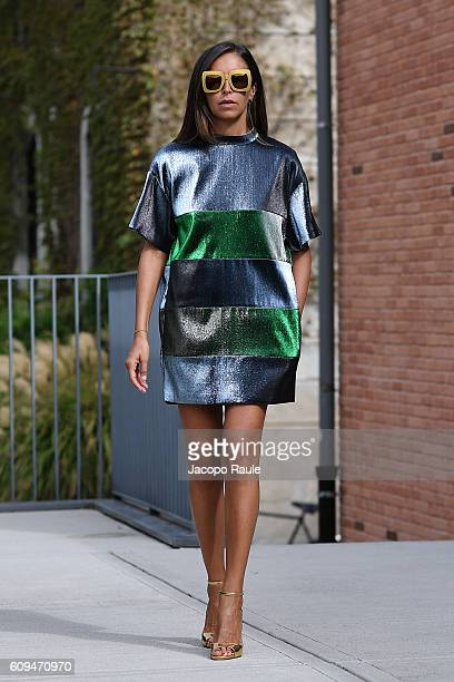 Alice Carli Head of Global Marketing and Business Developer for US and Asia Pacific retail and ecommerce of Peuterey is seen wearing Albino Teodoro...