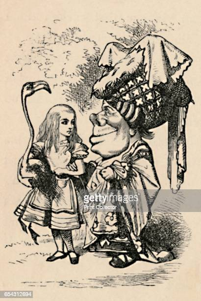 Alice carrying the stork, and talking to the Duchess, 1889. Lewis Carrolls Alice in Wonderland as illustrated by John Tenniel . From Alices...
