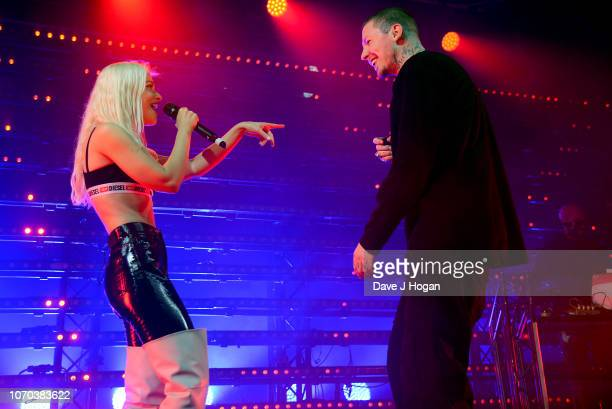 Alice Chater and Professor Green perform on stage during Professor Green's sold out show at Electric Brixton on November 20 2018 in London England