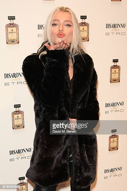 Alice Chater attends the launch of Disaronno Wears Etro celebrating the limited edition bottle at the Etro Bond Street boutique on October 26 2016 in...