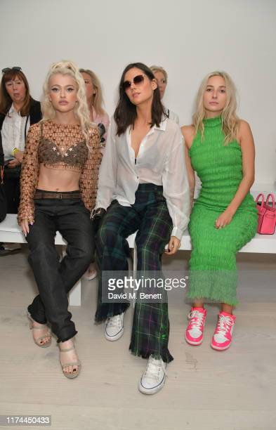 Alice Chater Lilah Parsons and Dylan Weller attend the Roberta Einer front row during London Fashion Week September 2019 at the BFC Show Space on...