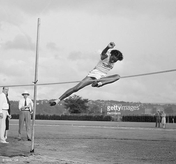 Alice Coachman of the Tuskegee Institute Club is seen as she wins the high jump event at the National Women's Track and Field meet