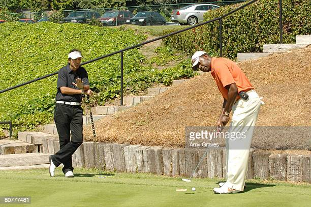 Alice Cooper and Dennis Haysbert participate in the Autism Speaks 5th Annual LA Golf Classic at the Riviera Country Club on April 14 2008 in Pacific...