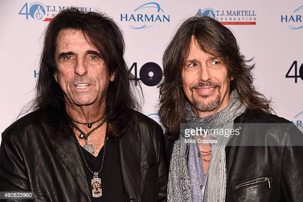 Alice Cooper and Foreigner Lead singer Kelly Hansen attend the TJ Martell 40th Anniversary NY Gala at Cipriani Wall Street on October 15 2015 in New...