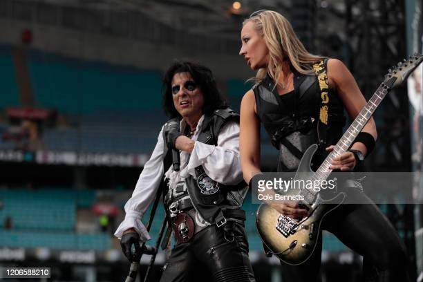 Alice Cooper and guitarist Nita Strauss performs during Fire Fight Australia at ANZ Stadium on February 16, 2020 in Sydney, Australia.