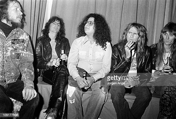 Alice Cooper and his band with Flo Eddie posed at a Sex Show in Copenhagen Denmark on November 22 1972 Mark Volman from Flo Eddie in centre wearing a...