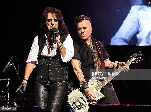 Alice Cooper and Johnny Depp of Hollywood Vampires perform at Ford Ampitheater at Coney Island Boardwalk on July 10 2016 in Brooklyn New York