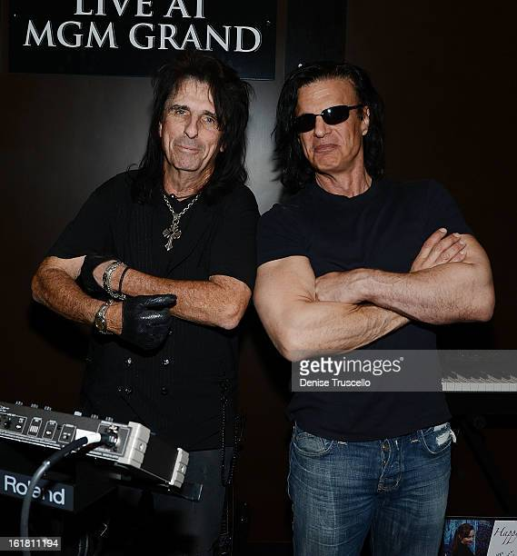 Alice Cooper and Kane Roberts participate in Rock 'n' Roll Fantasy Camp at MGM Grand Studio on February 16 2013 in Las Vegas Nevada