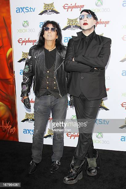 Alice Cooper and Marilyn Manson arrive at the 5th Annual Revolver Golden Gods Award Show held at Club Nokia on May 2, 2013 in Los Angeles, California.