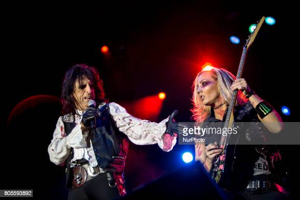 Alice Cooper and Nita Strauss of Alice Cooper Band during his performance at Rock Fest Barcelona 2017 Festival in Santa Coloma Spain on July 01 2017