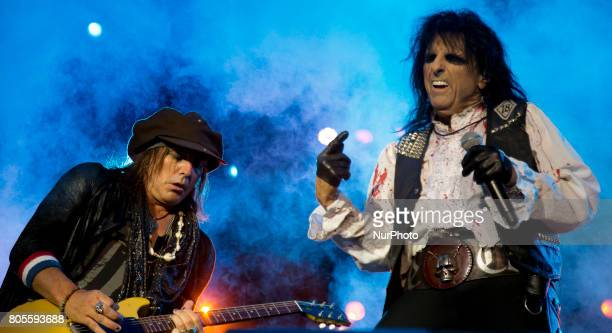 Alice Cooper and Ryan Roxie of Alice Cooper Band during his performance at Rock Fest Barcelona 2017 Festival in Santa Coloma Spain on July 01 2017