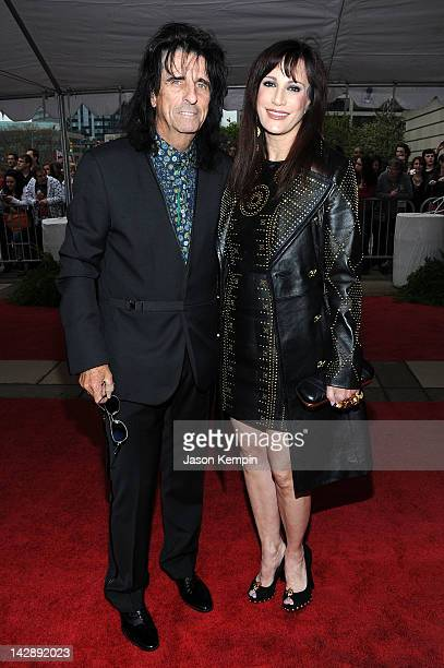 Alice Cooper and Sheryl Goddard attend the 27th Annual Rock And Roll Hall Of Fame Induction Ceremony at Public Hall on April 14, 2012 in Cleveland,...