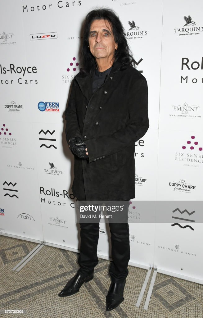 Alice Cooper attends the unveiling of 'The Adoration Trilogy: Searching For Apollo' by Alistair Morrison, hosted by Roger Daltrey to benefit the Teenage Cancer Trust, at The V&A on November 13, 2017 in London, England.