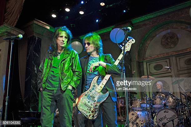 Alice Cooper Dennis Dunaway and Neal Smith rehearsing on the stage of the Ballroom at the WaldorfAstoria preparing for their induction into the Rock...