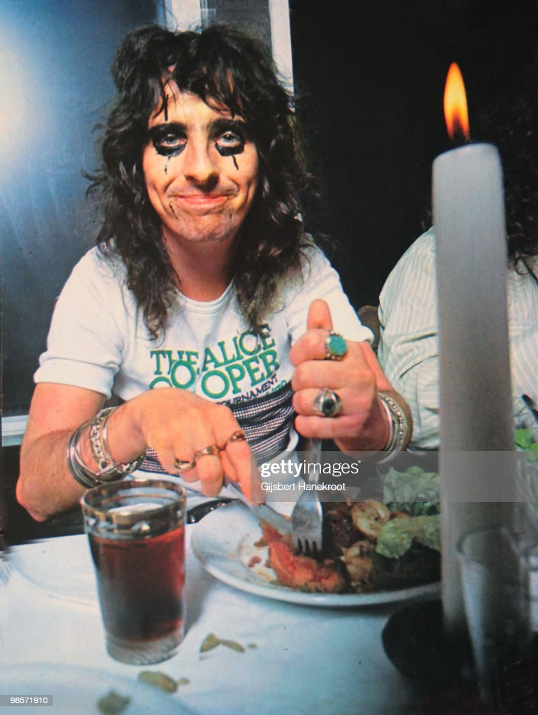 Alice Cooper eating a meal in Amsterdam, Netherlands on November 18 1972