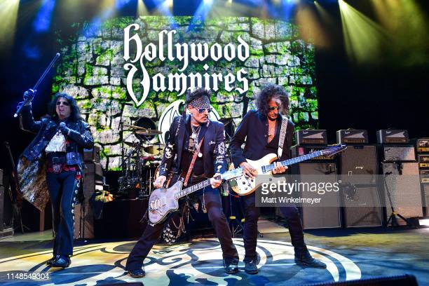 Alice Cooper Johnny Depp and Joe Perry of The Hollywood Vampires perform at The Greek Theatre on May 11 2019 in Los Angeles California