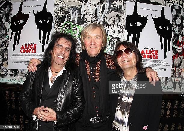 Alice Cooper Neil Smith and Dennis Dunaway from the original Alice Cooper band attend the after party for the 'Super Duper Alice Cooper' premiere at...