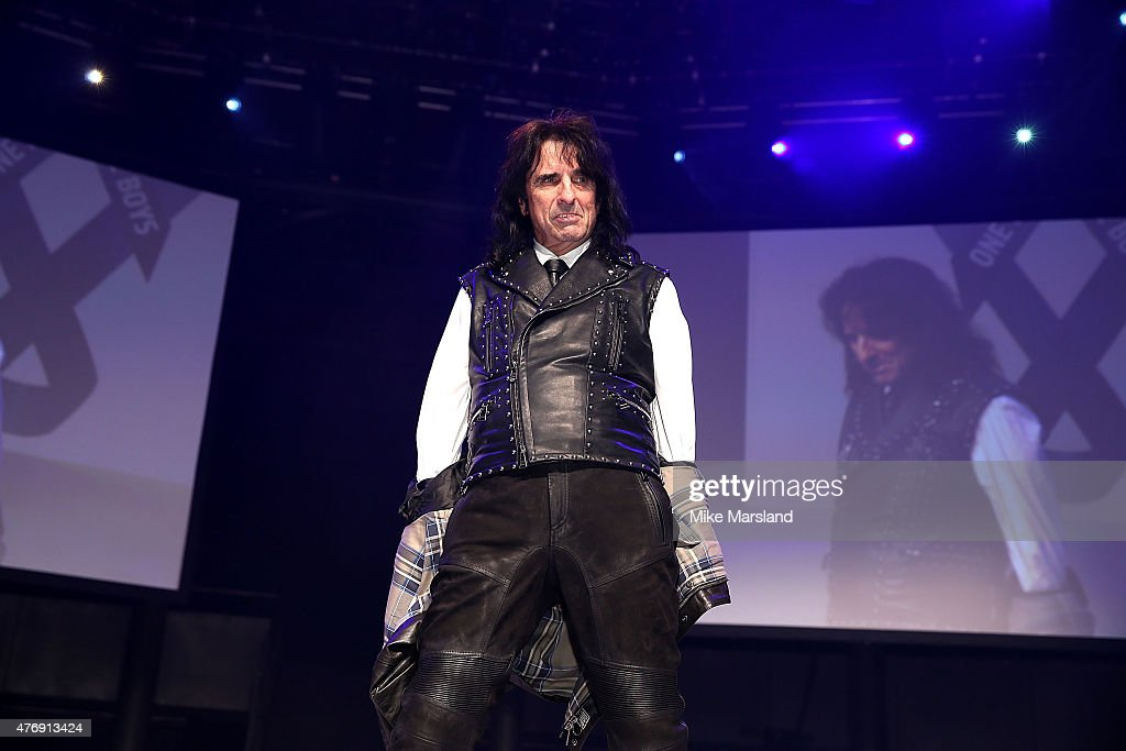 Alice Cooper on the catwalk during One For The Boys Fashion Ball hosted by Samuel L. Jackson, uniting men against cancer to kick start London Collections Men at The Roundhouse on June 12, 2015 in London, England.