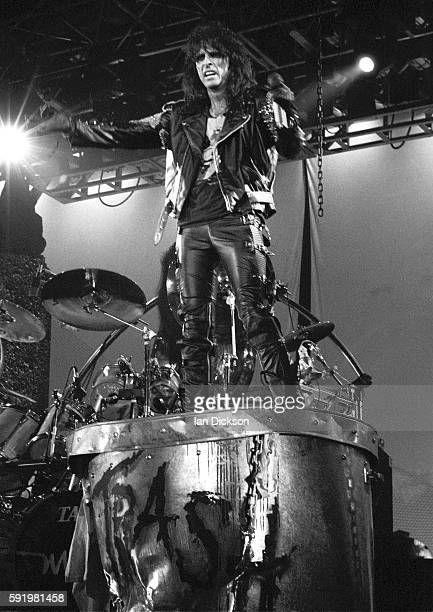 Alice Cooper performing on stage at Wembley Arena London 10 December 1989