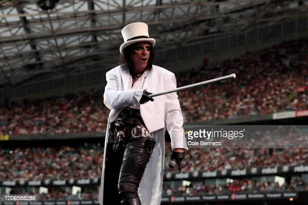 Alice Cooper performs during Fire Fight Australia at ANZ Stadium on February 16 2020 in Sydney Australia