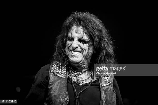 Image has been converted to black and white Color version not available LONDON ENGLAND JUNE 18 Alice Cooper performs on stage at The O2 Arena on June...