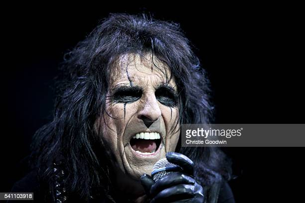 Alice Cooper performs on stage at The O2 Arena on June 18 2016 in London England