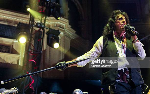 Alice Cooper performs on stage during The Sunflower Jam at Royal Albert Hall on September 16, 2012 in London, United Kingdom.