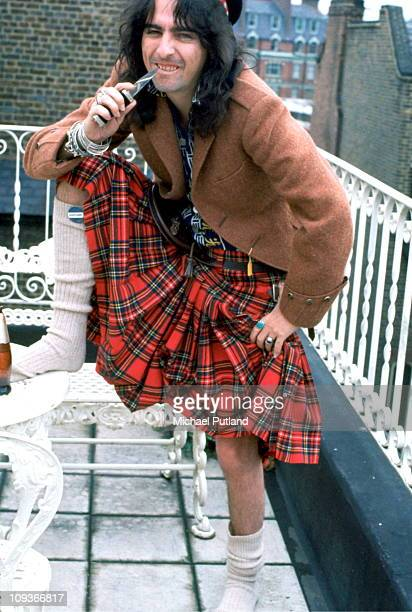 Alice Cooper portrait wearing a tartan kilt London 1972