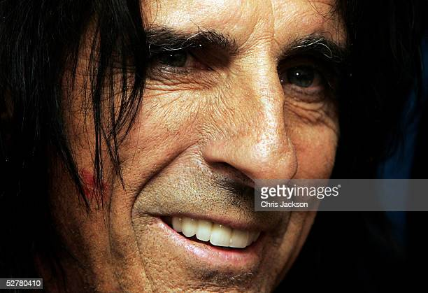 Alice Cooper poses in the pressroom at the Sony Radio Academy Awards at Grosvenor House Hotel on May 9 2005 in London England The prestigious awards...