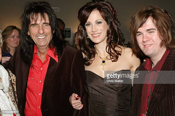Alice Cooper Sheryl Cooper and son during Alice Cooper's Christmas Pudding 2005 to Benefit The Solid Rock Foundation VIP Party at Dodge Theatre in...