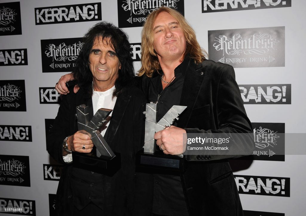Alice Cooper (L) with his Icon award and Joe Elliott from Def Leppard with their Inspiration award during The Relentless Energy Drink Kerrang! Awards at The Brewery on June 9, 2011 in London, England.