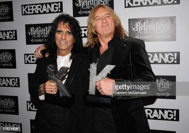 Alice Cooper with his Icon award and Joe Elliott from Def Leppard with their Inspiration award during The Relentless Energy Drink Kerrang Awards at...