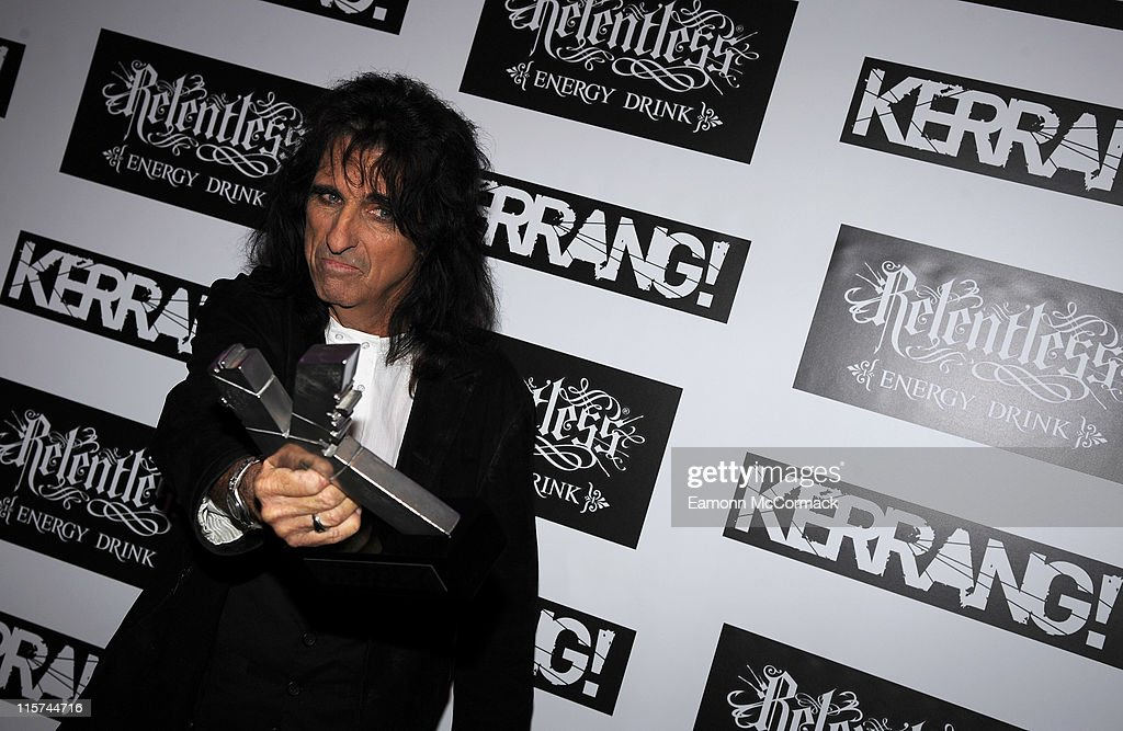 Alice Cooper with his Icon award during The Relentless Energy Drink Kerrang! Awards at The Brewery on June 9, 2011 in London, England.