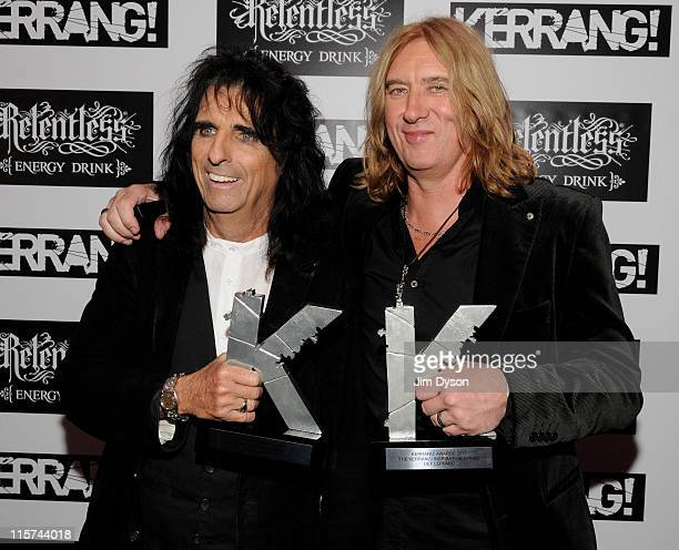 Alice Cooper with the Kerrang Icon Award and Joe Elliot of Def Leppard with the Kerrang Inspiration Award pose at The Relentless Energy Drink Kerrang...