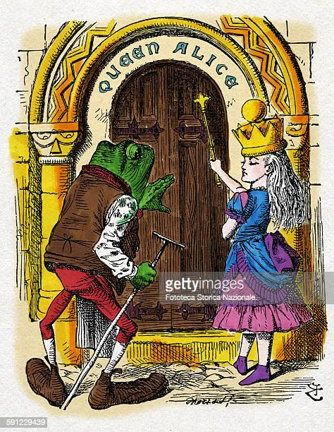 Alice crowned knocks at the door bearing his name but nobody answers Finally an old frog approaches Lewis Carroll donated the first manuscript of the...