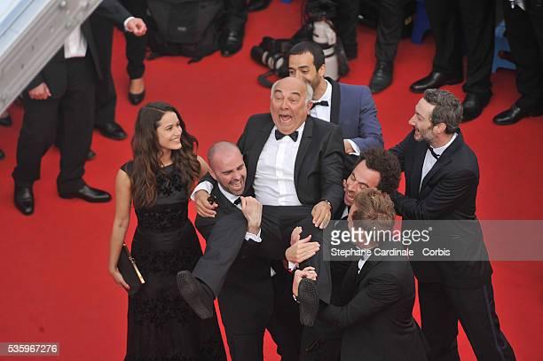 Alice David Julien Arruti Gerard Jugnot Enzo Tomasini David Marsais Philippe Lacheau Vincent Desagnat and Tarek Boudali attends the Dragon 2 premiere...