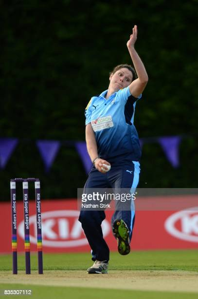 Alice DavidsonRichards of Yorkshire runs into bowl during the Kia Super League 2017 match between Loughborough Lightning and Yorkshire Diamonds at...