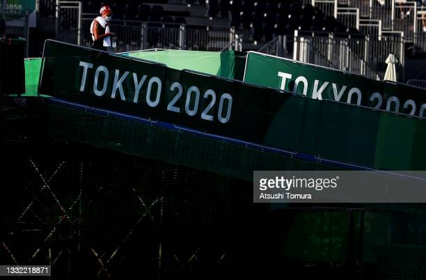Alice Dearing of Team Great Britain walks to the start in the Women's 10km Marathon Swimming on day twelve of the Tokyo 2020 Olympic Games at Odaiba...