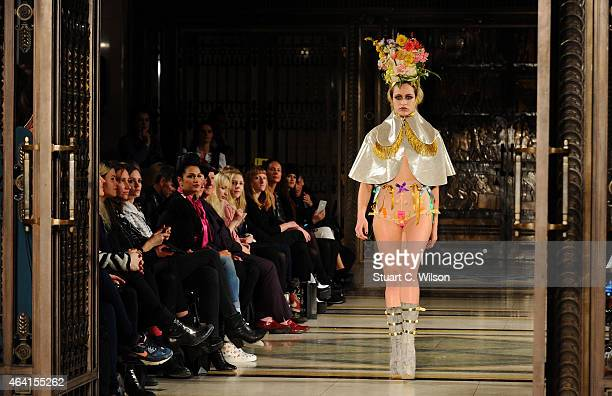 Alice Delall walks the runway at the Pam Hogg show during London Fashion Week Fall/Winter 2015/16 at Fashion Scout Venue on February 22 2015 in...
